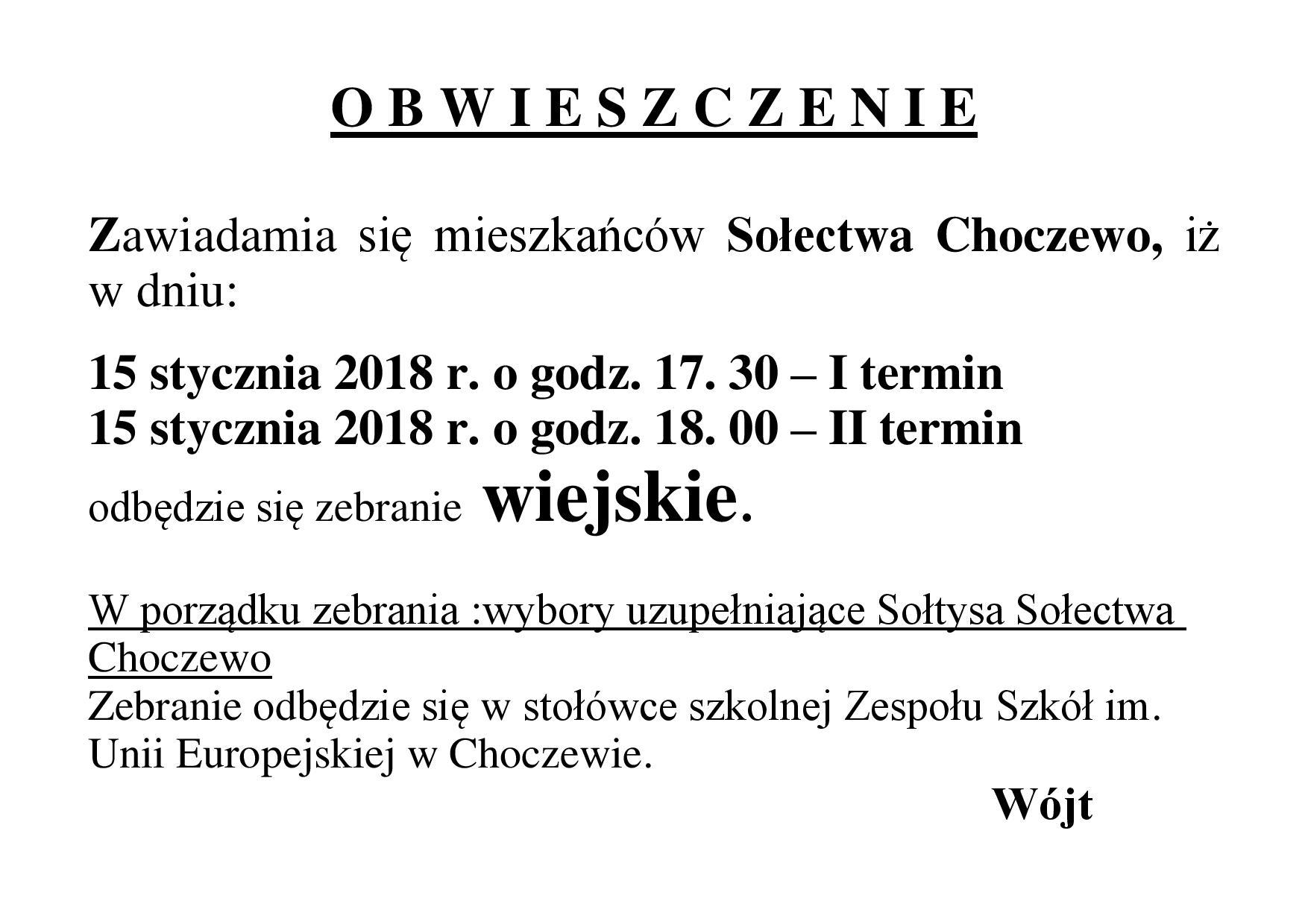 obwieszczenie zeb.wiejskie Choczewo